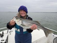 How to Catch Stripers in the Fall: A November striper caught while vertical jigging in open water.
