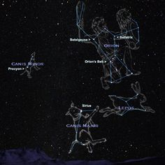 Astrology/Constellations/Mythology in Ancient Greece: Orion the Hunter. Sirius (the brightest star in our sky) - which marks Canis Major, Canis Minor, and Lepus. Don Chuy, Cosmos, You Are My Moon, Orion's Belt, Star Constellations, Ex Machina, Space And Astronomy, Astrophysics, Milky Way
