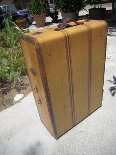 Vintage Striped Tweed Suitcase 1940s by BeckVintage on Etsy, $125.00