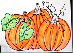 """I love autumn art lessons! Here's one with pumpkin patches and chalk pastels: Drawing from still life, students have to overlap pumpkins, overlap the leaves, and shade with analogus colors. Discuss why pumpkins are special and read pumpkin books: """"The Pumpkin Patch"""" by Elizabeth King and """"The Pumpkin Book"""" by Gail Gibbons."""