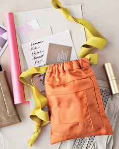 DIY: quilted silk drawstring bag