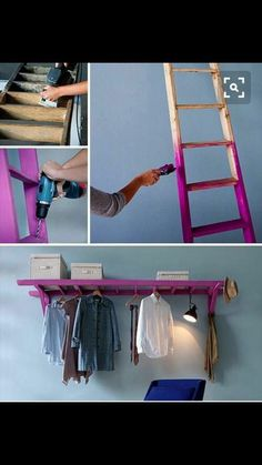 Check out the idea: DIY Ladder Storage Rail crafts homedecor - Diy for Home Decor Small Space Living, Small Spaces, Ladder Storage, Diy Ladder, Ladder Hanger, Ladder Shelves, Floating Shelves, Ladder Display, Ladder Decor