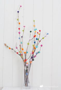 Pom-Pom Branches - easy ideas for entertaining! Great for fall or holidays...