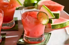 Watermelon Cocktail ~ 1 part Kettle One Vodka, 1 ½ parts watermelon juice, 1 watermelon slice. Add vodka & watermelon juice into a cocktail shaker and shake well. Pour in a rocks glass with ice. Garnish with watermelon slice & a slice of lime. Summer Drinks, Cocktail Drinks, Fun Drinks, Cocktail Recipes, Margarita Cocktail, Cocktail Ideas, Mint Margarita, Lime Drinks, Summer Sangria