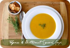 I'm a sucker for any bone broth soup. Thyme & Butternut Squash soup | - #Paleo NourishingHerbalist.com
