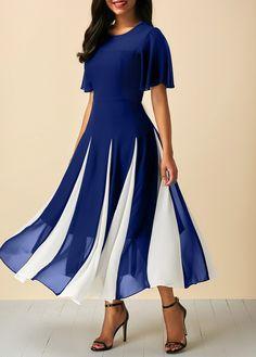 Navy Blue Butterfly Sleeve Round Neck Dress | liligal.com - USD $34.42