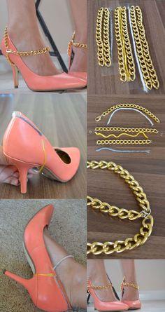 IDEE DIY // Ajout chaîne dorée sur vos chaussures