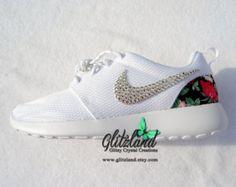 Swarovski Nike White Roshe w/ Red & Black Foral Print heel Blinged with SWAROVSKI® Crystals