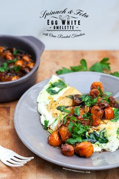 Spinach and Feta Egg White Omelette with Roasted Tomatoes | Spache the Spatula