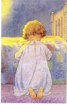 "https://flic.kr/p/86QnZB | vintage illustrations | ""Prayer at bedtime"", by Jessie Wilcox Smith."