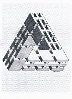 #impossible #isometric #penrose #triangle #geometry #symmetry #mathart #regolo54 #handmade #oscareutersvärd #escher