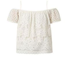 New Look Cream Lace Open Shoulder Gypsy Top #top #women #covetme