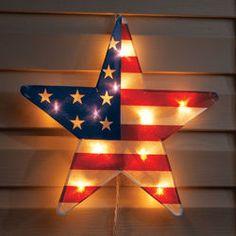 American Flag 16 Lighted Star Decor