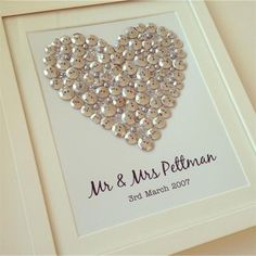Silver button art heart, personalised gift for a wedding
