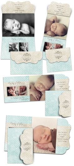 Birth Announcement Templates PARKER ELLIOT 8 by ashedesign, $19.99