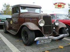 Hot Rod Pick up oldschool ford model a v8 High boy Full fender steelies street rod rat vintage brown top chop