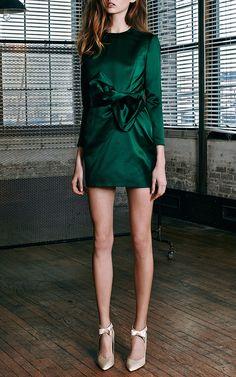 Bow-Detail Satin Dress by Katie Ermilio - Moda Operandi