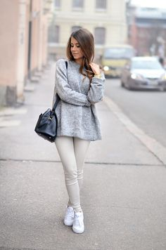 Light Neutrals - Marianna wearing a Acne Sweater, Zara Jeans, Nike Sneakers and Saint Laurent Bag.