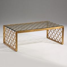 Gold Leaf Transitional Coffee Table Glass Top Free Ship New