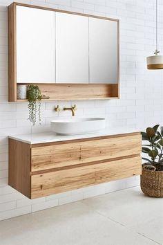 Modern bathroom inspiration with wood, gold and white tiles M . - Modern bathroom inspiration with wood, gold and white tiles inspiration Beautiful bathroo - Bathroom Mirror Design, Bathroom Trends, Modern Bathroom Design, Bathroom Interior Design, Bathroom Renovations, Bathroom Storage, Bathroom Ideas, Bathroom Organization, Bathroom Vanities