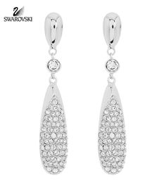 eb377b304 Swarovski Clear Crystal Pierced Earrings DOWNY Rhodium #5141374