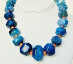 Blue Necklace and Coral Agate Handmade Beaded Jewelry...very pretty