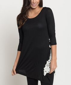 Another great find on #zulily! Black Lace-Accent Swing Tunic - Women #zulilyfinds