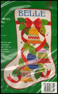 "VINTAGE NEEDLE TREASURES ""CHRISTMAS BELLS STOCKING"" NEEDLEPOINT KIT #NeedleTreasures"