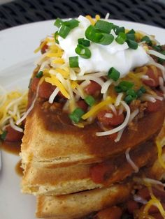 Cornmeal waffles and chili - we already have chili so why not make some cornmeal waffles to go with it?!  Yum.
