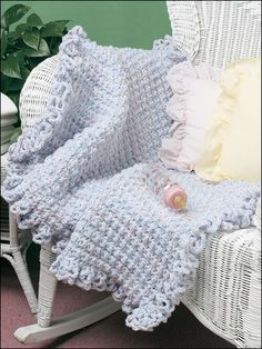 Quick & Easy Baby Afghan Crochet Pattern Download from e-PatternsCentral.com -- Three strands of yarn used with simple stitches make this textured afghan especially cozy for Baby.