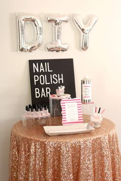 """How to make a """"DIY Nail Polish Bar""""! Perfect for a bridal shower, bachelorette party or any girly party!"""
