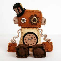 Steampunk Robot Plush Doll with Top Hat and Vintage by GinnyPenny