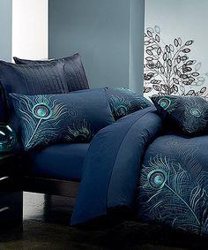 Navy Blue Peacock Feather Duvet Cover Set   zulily