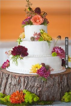 rustic wedding cake | VIA #WEDDINGPINS.NET