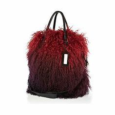 Red ombre Mongolian fur tote bag - River Island price: £150.00