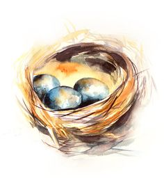 #Nest with Blue Eggs WatercolorPainting Original Watercolor Painting Watercolour Art   One of a Kind #Art #Watercolour Art Piece  Scale: 11x14'' Medium: top branded watercolor... #art #etsy #trending #sale #decor #painting #watercolour #aquarelle #nest