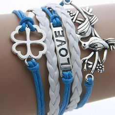 Leather & Zinc Womens Infinity Multilayer Bracelet - Blue/White - Lovebirds, Love, Hearts
