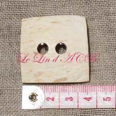 Bouton carré, en coco, blanc, 36 mm : Boutons par lin-acb
