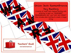 Union Jack Remembrance Day Bunting - EYFS, KS1, KS2, KS3 Citizenship British Values Teaching Resources and Displays