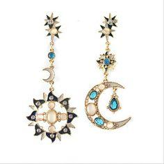 2015 new! Mode beaux bijoux style bohème individualité Unique asymétrique soleil et la lune boucles d'oreilles longues pour femmes a
