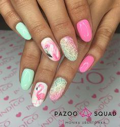 Flamingi see you later, alligator miss america chiquita banana pixel śnieżka @indigonails #indigo #pazoo #nails #nailart #inspiration #instagood #summernails #instalike #nailswag #nailsart #nailstagram #nailsdone #pixel #flamingo #instanails