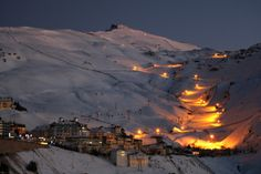 Night skiing in Sierra Nevada, Granada, Spain