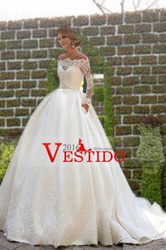 2016 cuchara mangas largas vestidos de boda de la cucharada de una línea de raso con apliques