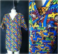 colorful rainbow superman nurse scrub. adult large. v-neck, bottom pockets, side slits. - handmade by jloriginals $20 on @Etsy