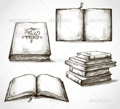 Set of Old Books Drawings  #GraphicRiver