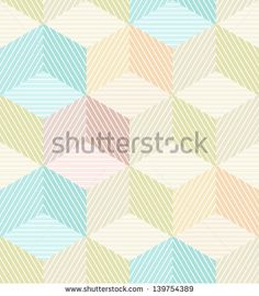 Seamless geometrical beige background with striped cubes