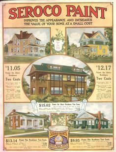 Exterior Paint schemes from c. 1910 Seroco (Sears) paint brochure.