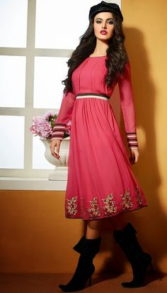 Pink colored Georgette kurti to look young and bubbly at any party or occasion.
