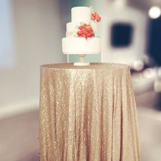 Paris #Gold #Champagne #Sequin Linens from Napa Valley Linens with a Mint and Coral Wedding Cake from Pretty Please Bakeshop