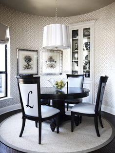 black+round+table | Contemporary Black Round Dining Room Table Getting Elegant Dining Room ...